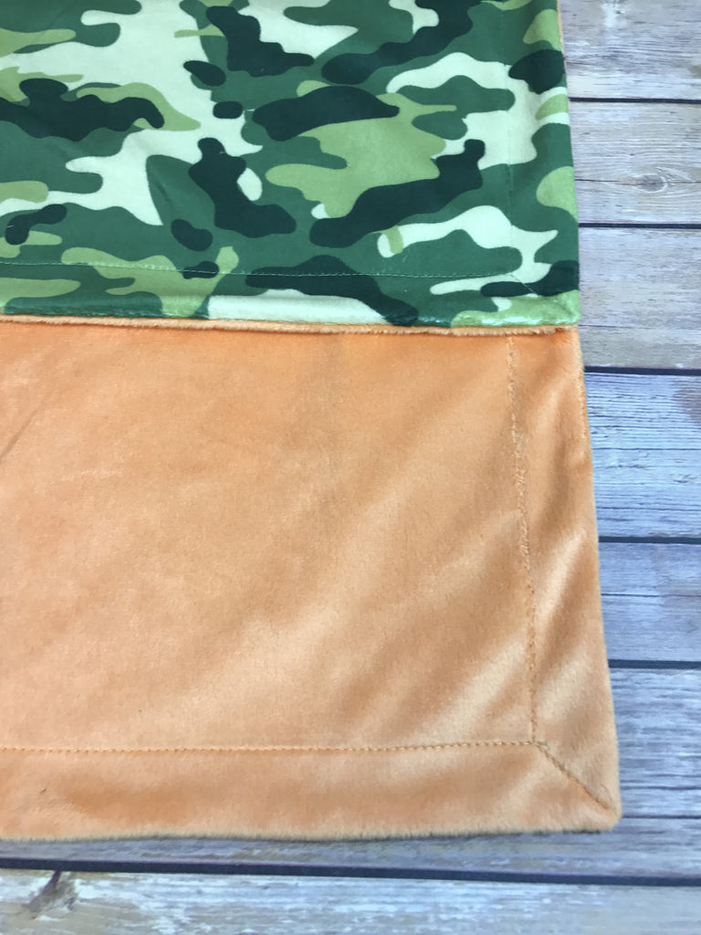 Orange Minky Smooth & Camo Print Minky Blanket