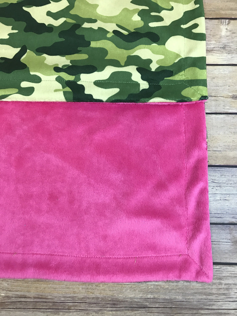 Hot Pink Minky Smooth & Camo Print Minky Blanket