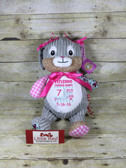 Cubbies™ Harlequin Pink Bunny Stuffie with Custom Embroidery