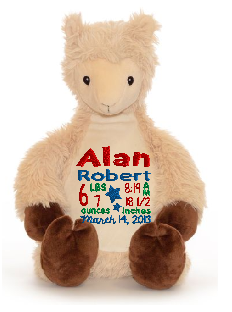 Cubbies™ Llama Stuffie with Custom Embroidery