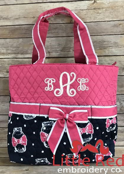 Mason Jar Pink/Navy Quilted Diaper Bag