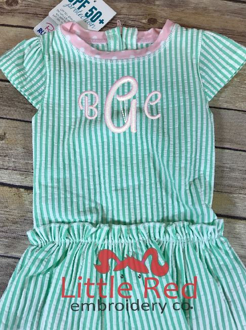 RuffleButts Mint Seersucker Peplum One Piece Swimsuit w/ Monogram