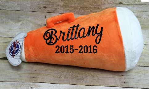 Orange Megaphone Pillow Stuffie with Custom Embroidery