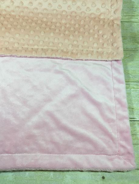 Light Pink Minky Smooth & Light Pink Minky Dot Blanket