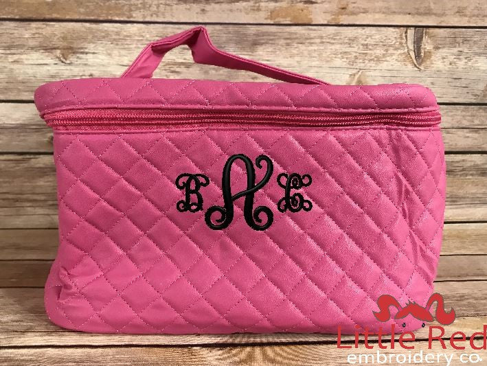 Pink Quilted Cosmetic Bag