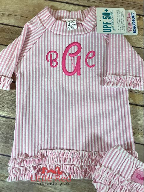 RuffleButts Pink Seersucker Ruffled Rash Guard Bikini w/ Monogram