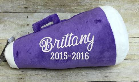 Purple Megaphone Pillow Stuffie with Custom Embroidery