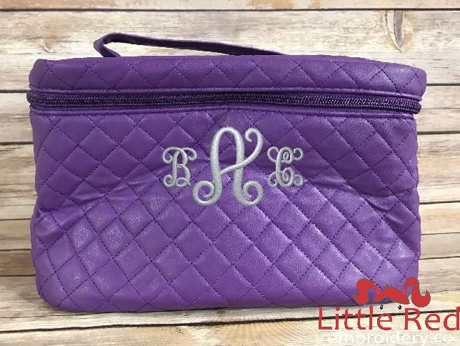 Purple Quilted Cosmetic Bag