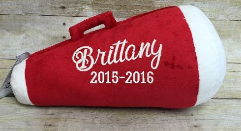Red Megaphone Pillow Stuffie with Custom Embroidery