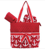 Red/Anchor Print Quilted Diaper Bag