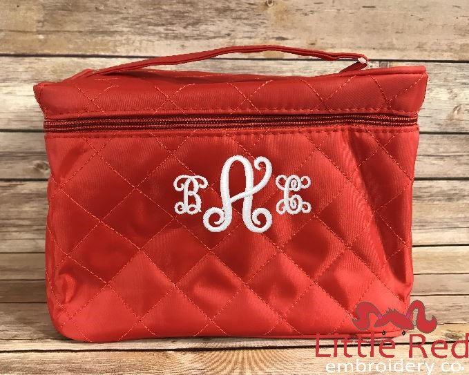Red Quilted Cosmetic Bag
