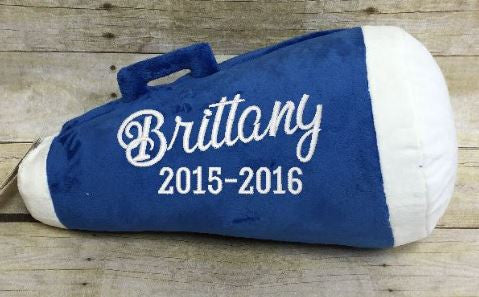 Royal Blue Megaphone Pillow Stuffie with Custom Embroidery