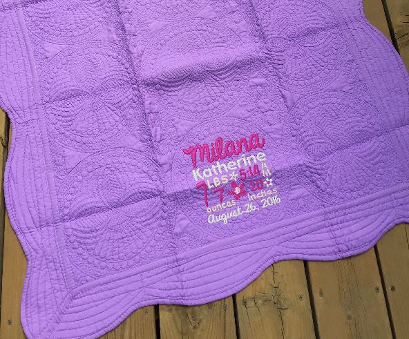 Light Purple Cotton Scallop Edge Baby Quilt