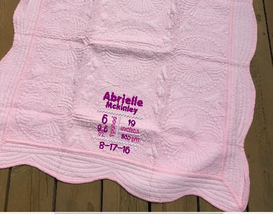 Light Pink Cotton Scallop Edge Baby Quilt