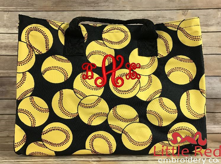 Softball Wide Tote Bag