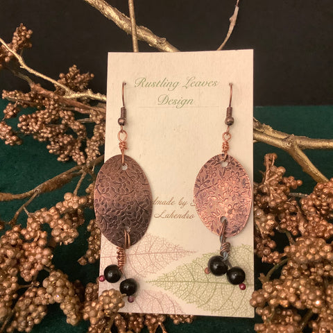 Copper Earrings with Stamped Design and Two Black Beads, Kathy Lahendro, Potsdam, NY