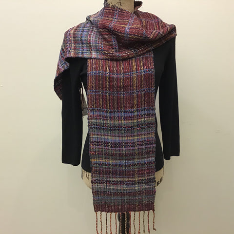 "Handwoven ""Ella"" Scarf, Silk, Cotton, and Linen, in Jewel Tones, Kim Richey, Chateaugay, NY"