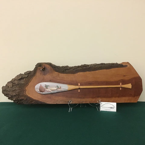 Live Edge Cherry Wood Plaque with Hand Made, Hand Painted Ash Paddle, John Miller III, DeKalb Junction, NY