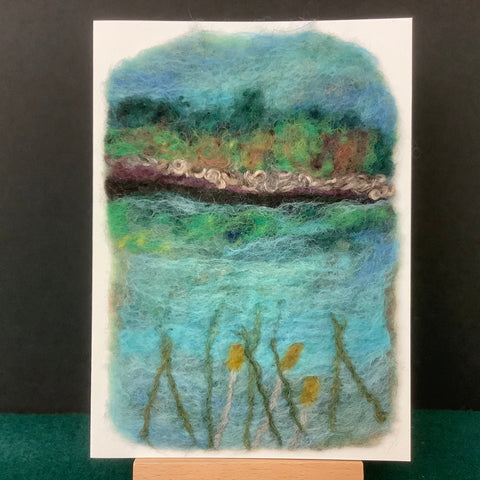 "Hand Felted Card ""Cattails II"", Kathy Montan, Canton, NY"