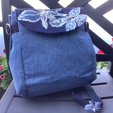 Backpack Purse in Blue Denim, Tina Charbonneau, Lake Placid, NY