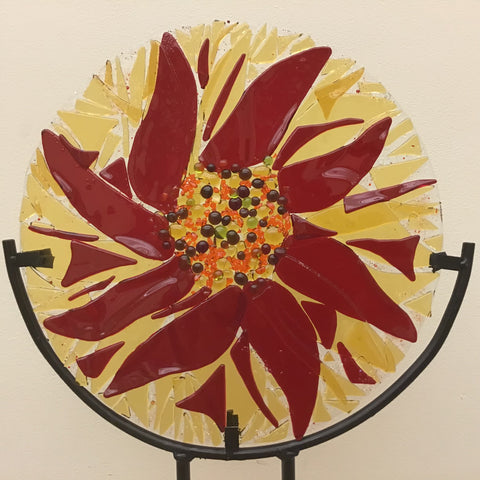 Red Aster Large Glass and Iron Garden Ornament, Marie Cogar, Gabriels, NY