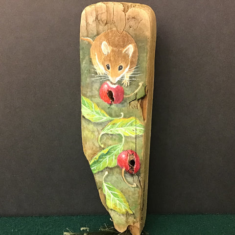 Driftwood Painting Mouse & Crabapples