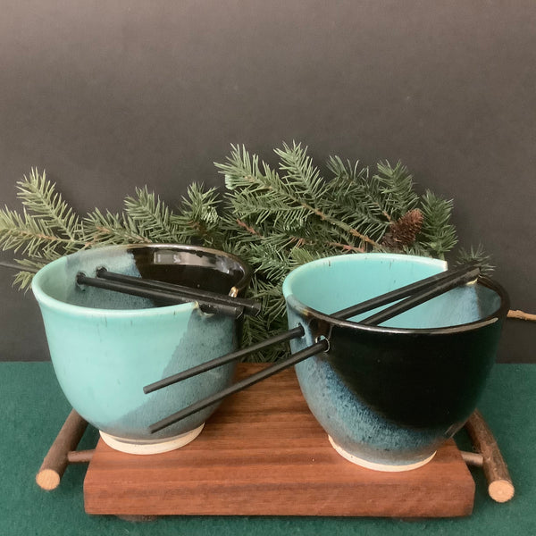 Set of Two Rice Bowls in Black and Turquoise with Chopsticks, Petroccione, DeKalb Junction,  NY