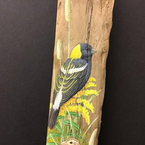 Driftwood Painting Bobolinks and Summer Flowers