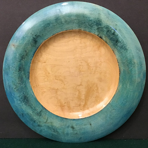 Maple Plate with Light Teal Curved Rim, David Buchholz, Augur Lake, Keeseville, NY
