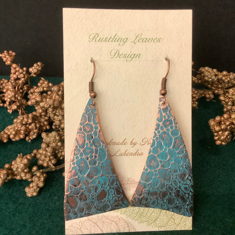 Large Stamped Copper Sword Shaped Earrings with Turquoise Patina, Kathy Lahendro, Potsdam, NY