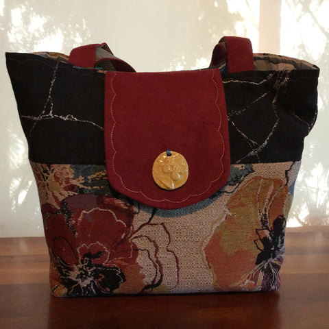 Tote Bag, Floral Tapestry with Rust Suede Details and Ceramic Button