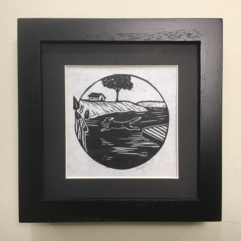 """Leap"" Rubber Block Print  Framed and Matted in Deep Frame, Johanna Kingsley, DeKalb Junction, NY"