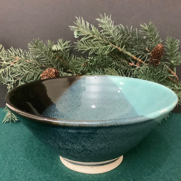 Bowl in Turquoise to Midnight Black Glaze, Linda Petroccione, DeKalb Junction, NY