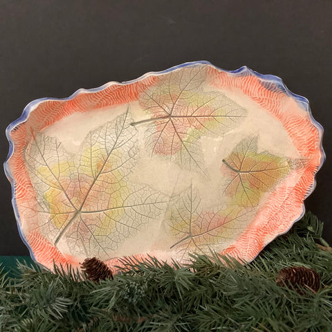 Hand-built Dish with Embossed Leaf Pattern in Fall Colors and Orange Border with Blue Edging, Jackie Sabourin, Lake Shore Road, Peru, NY