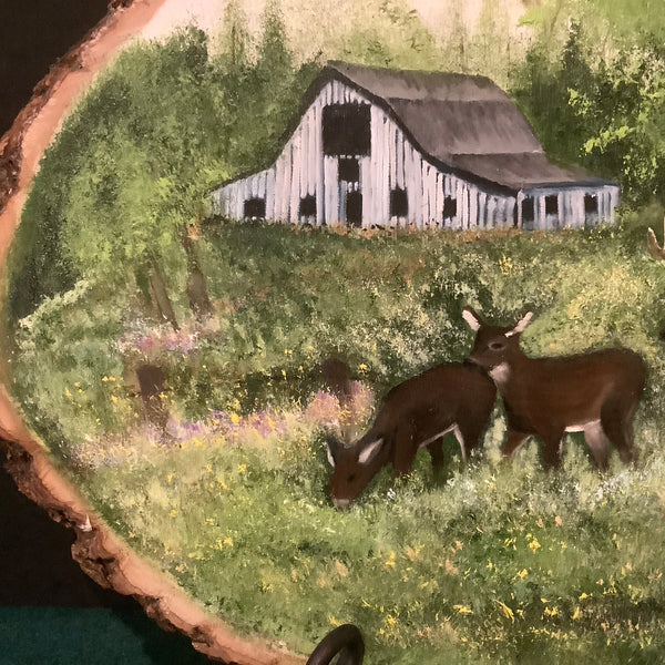 """Deer and Barn"" Oil on Live Edge Tree Slab , Lisa Nylin, Theresa, NY"