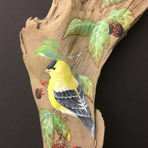 Driftwood Painting Goldfinches and Blackberries