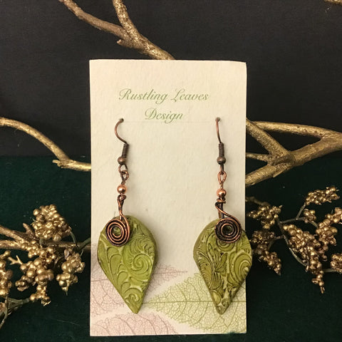 Clay Leaf Shaped Earrings White with Green Design and Copper Coil, Kathy Lahendro, Potsdam, NY