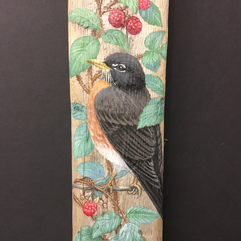 Driftwood Painting Robins and Raspberries