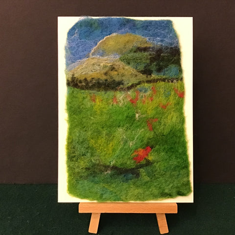 "Hand Felted Card ""Red Birds in Field"", Kathy Montan, Canton, NY"