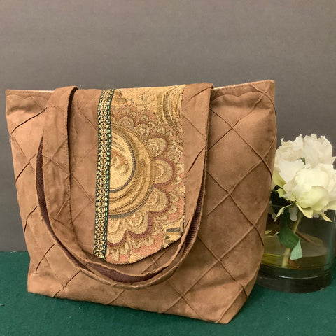 Tote Bag, Latte Brown Suede with Tapestry Flap, Tina Charbonneau, Lake Placid