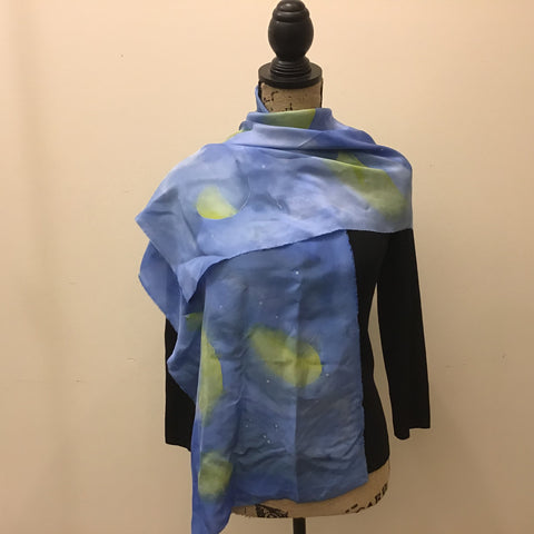 Silk Scarf Blues and Greens Abstract Design