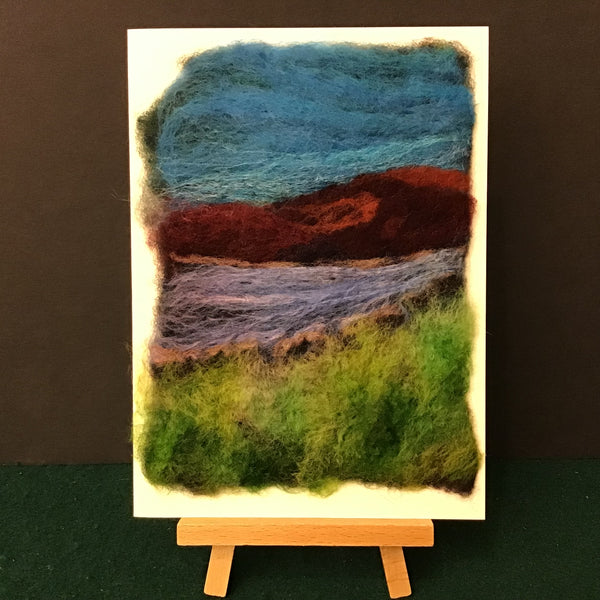 "Hand Felted Card ""Along the Shore"", Kathy Montan, Canton, NY"
