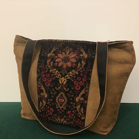 "Tote Bag, Floral Corduroy and ""Suede"" Fabric, Tina Charbonneau, Lake Placid"
