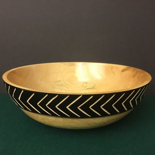 Footed Bowl Black Carved Outer Rim, David Buchholz, Augur Lake, Keeseville, NY