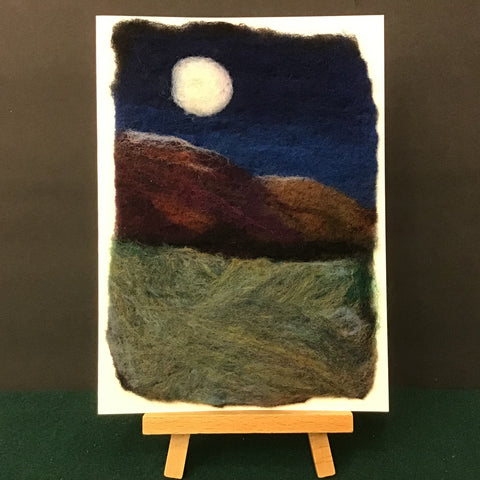 "Hand Felted Card ""Moon Over Red Mountains"", Kathy Montan, Canton, NY"