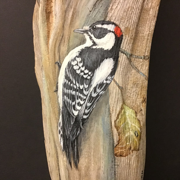 Driftwood Painting Downy Woodpeckers