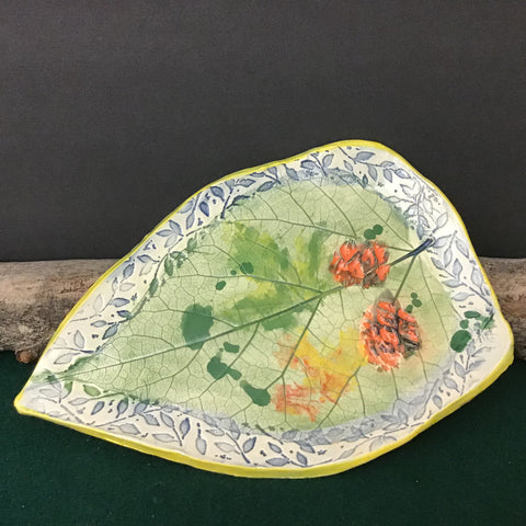 Hand-built Leaf Plates in Fall Colors and Blue, White and Yellow Edges, with Embossed Botanical Pattern, Jackie Sabourin, Lake Shore Road, Peru, NY