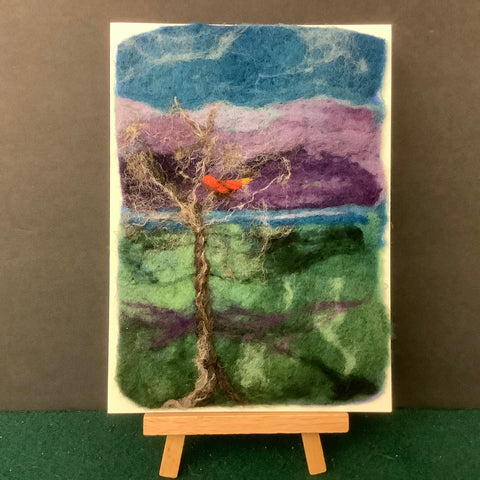 "Hand Felted Card ""Cardinal in Tree"" Kathy Montan, Canton, NY"