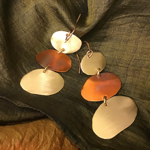 Mixed Metal Earrings Triple Oval Drops(#9) Toos Roozen-Evans, Chateaugay Lake, NY