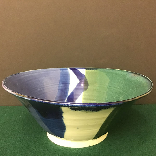 Bowl in White, Blues and Dark Green